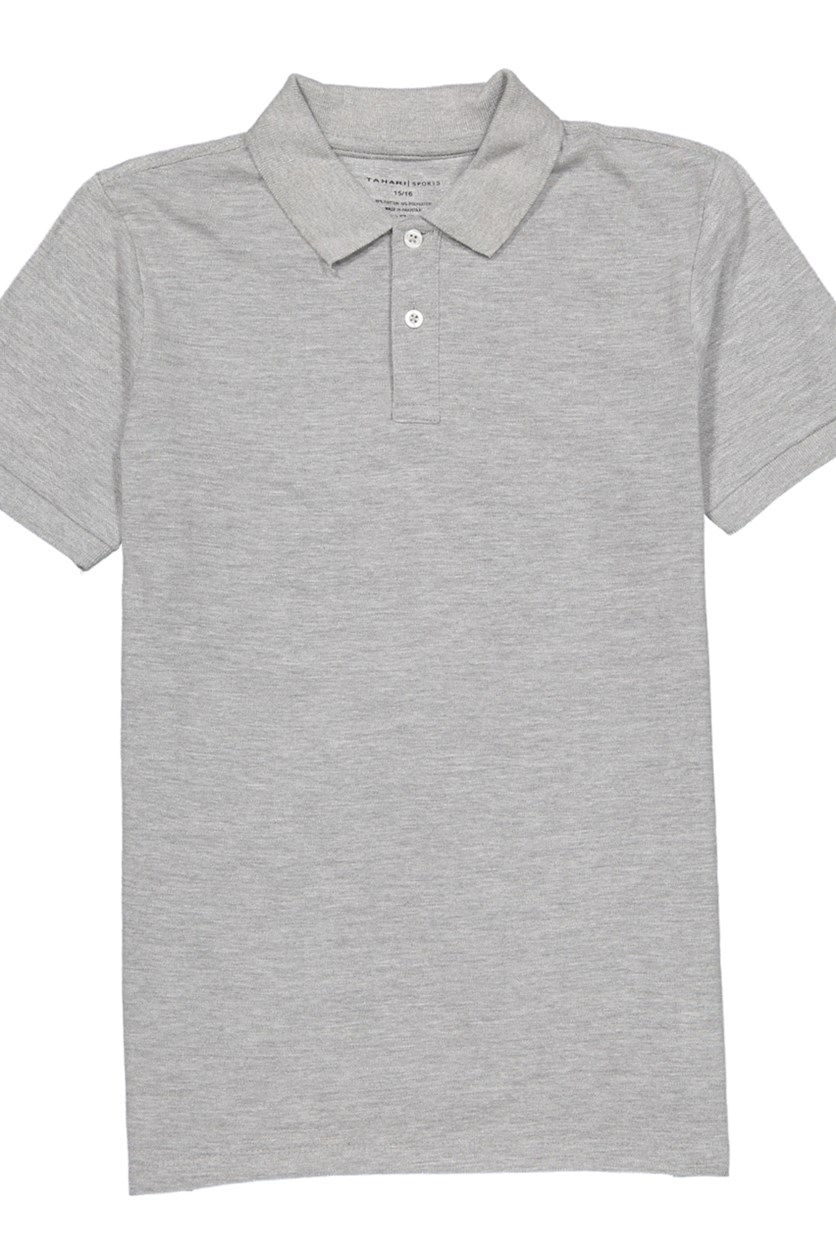 Men's Cotton Polo Shirt, Grey Heather