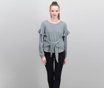 1.state Tie-Front Knit Top, Light Heather Grey