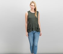 Vince Camuto Women's Tiered-Peplum Top, Rich Olive