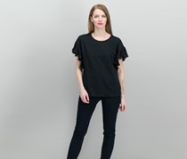 CeCe Mixed Media Pleated-Trim Top, Rich Black