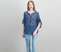 Vince Camuto Women's Printed Flutter-Sleeve Top, High Tide