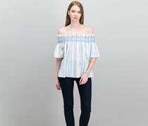1.STATE Striped Off-The-Shoulder Top, Antique White