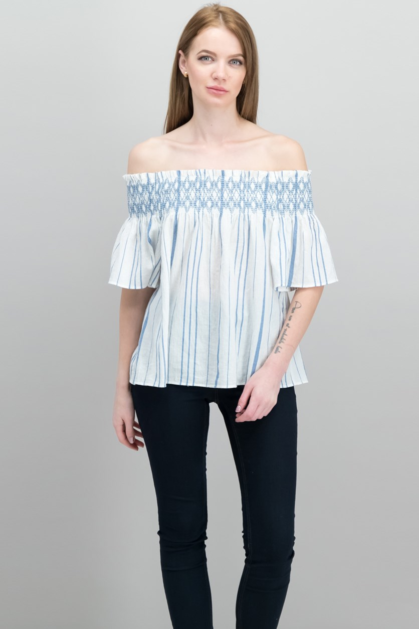 Striped Off-The-Shoulder Top, Antique White