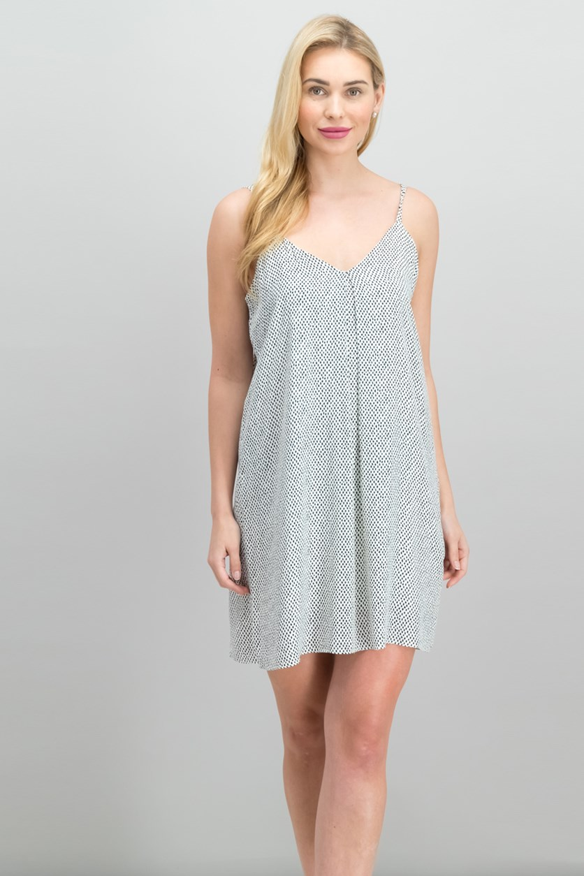 V-Neck Polka Dots Dress, Antique White