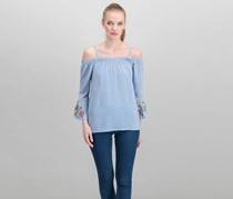 Crave Fame Juniors Embroidered Striped Top, Blue/White