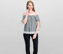 Crave Fame by Almost Famous Juniors' Off The-Shoulder Gingham Top, Black/White