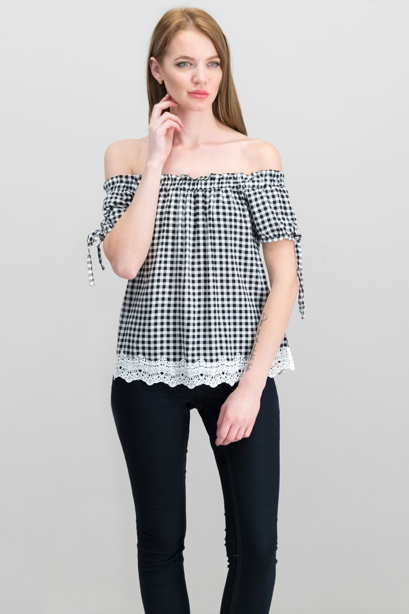 by Almost Famous Juniors' Off The-Shoulder Gingham Top, Black/White