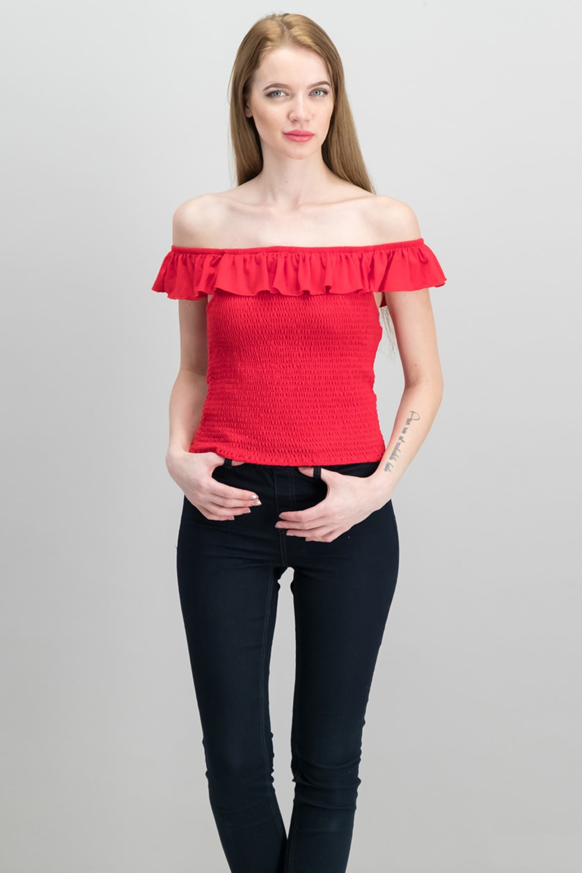 Juniors Ruffle Smocked Crop Top, Red