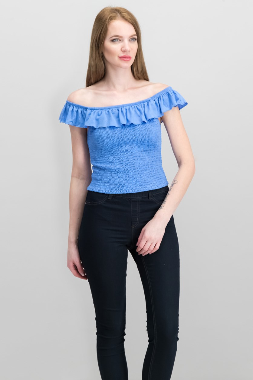 Juniors' Ruffle Smocked Crop Top, Blue