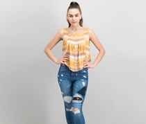 Free People Vintage Striped Cotton Top, Soft Gold Combo