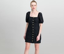 Free People Women Daniella Cotton Eyelet Mini Dress, Black