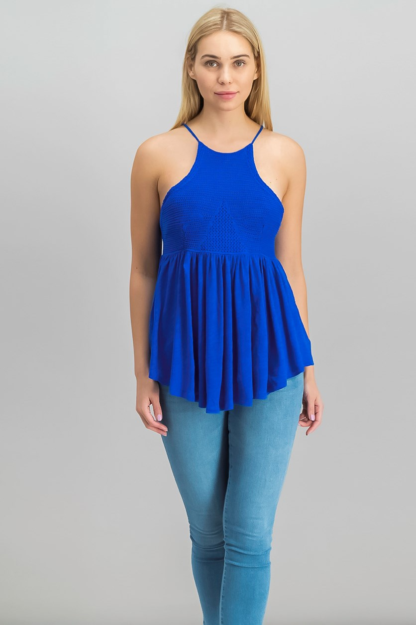 Blue Road Trip Crochet Tank, Seaport