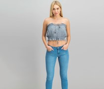Free People Women's Peppermint Tube Top, Navy Combo