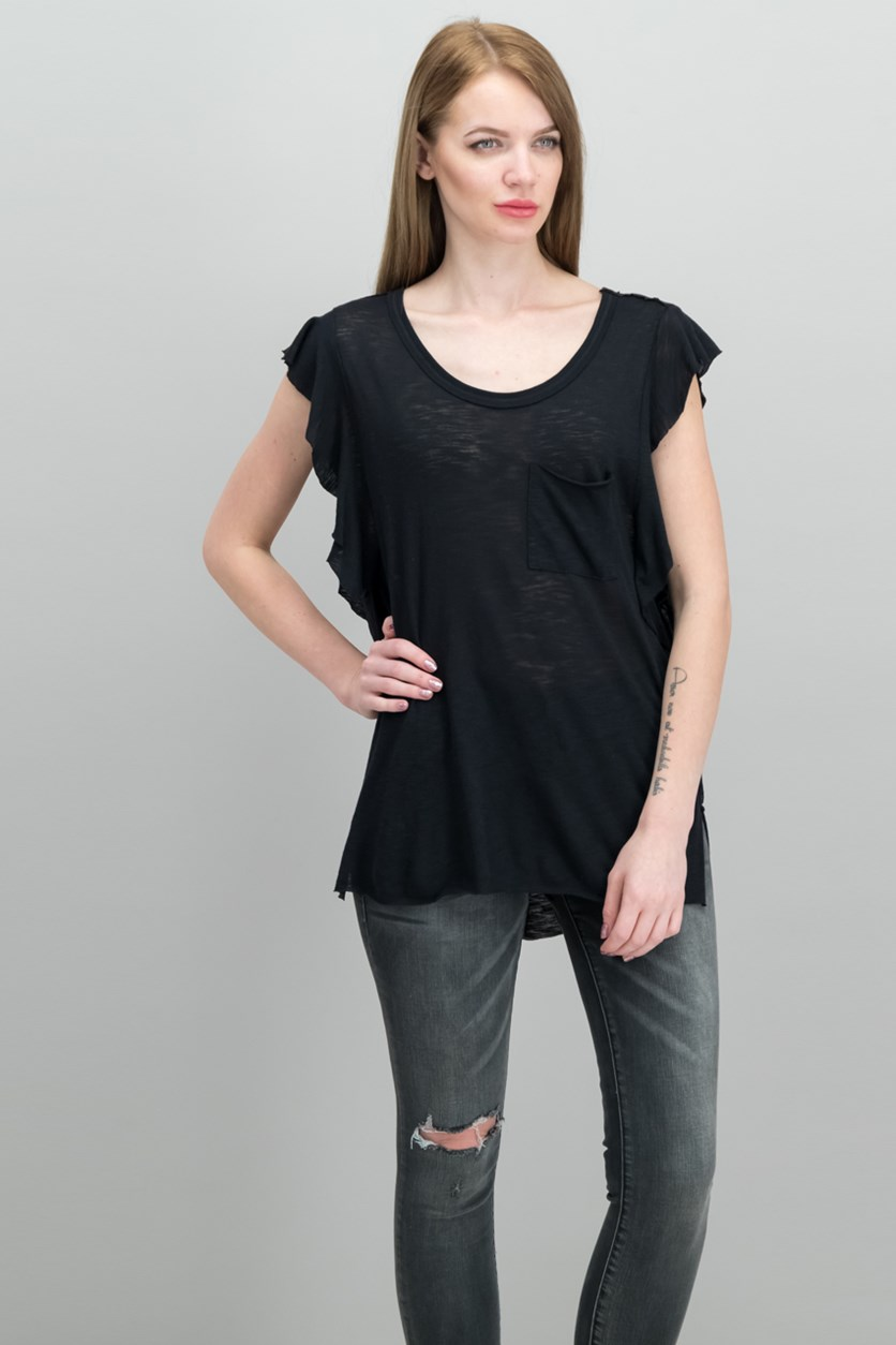So Easy Flutter-Sleeve T-Shirt, Black