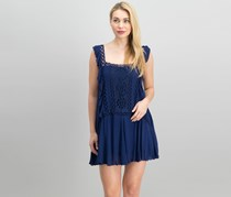 Free People Priscilla Ruffled Crochet-Trim Minidress, Navy
