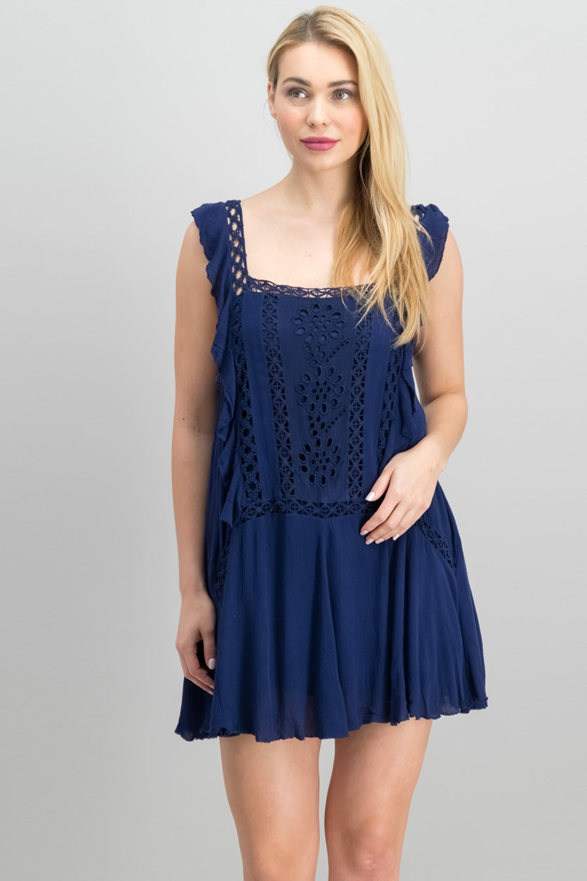 Priscilla Ruffled Crochet-Trim Minidress, Navy