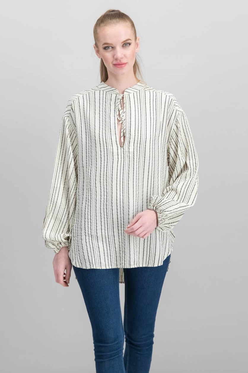 Rhythm Of The Night Striped Top, Ivory