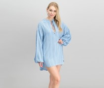 Free People Women's Bishop Sleeves Striped Tunic Top, Blue Bell