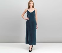 Calvin Klein Women's V-Neck Velvet Dress, Dark Slate