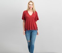 Free People Maddie Oversized Burnout T-Shirt, Red
