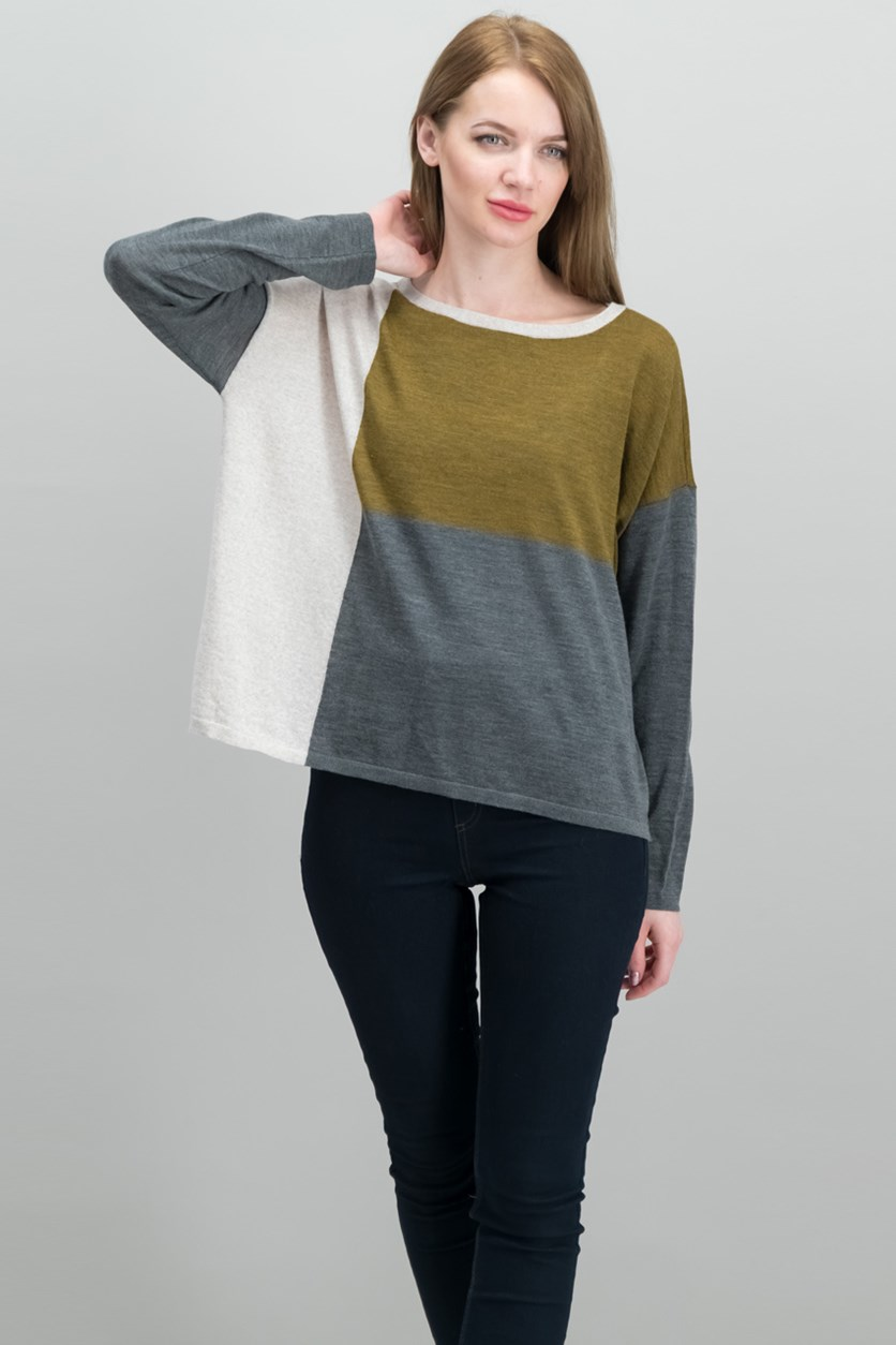 Wool Colorblocked Sweater, Grey Combo