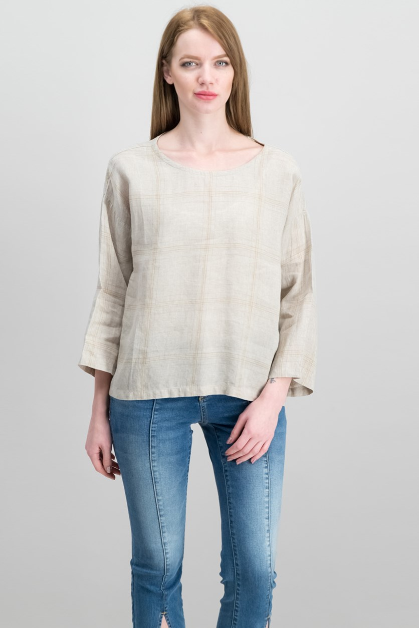Organic Linen Multi-Plaid Top, Natural