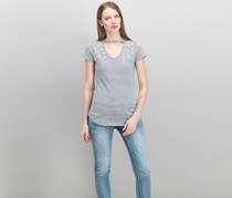 Ultra Flirt Juniors' Embellished Choker T-Shirt, Med Grey