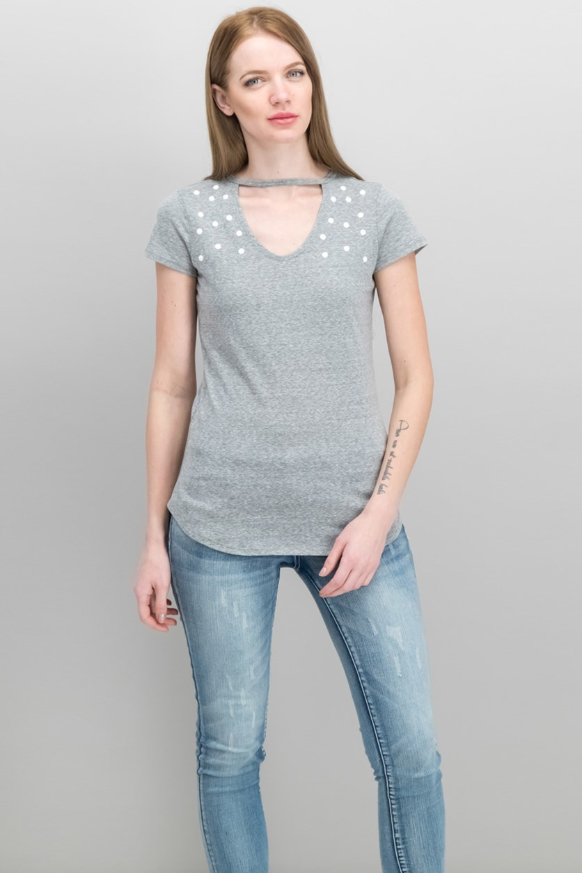 Juniors' Embellished Choker T-Shirt, Med Grey
