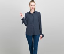Theory Women's Tie-Cuffs Button-Front Pinstripe Tops, Navy