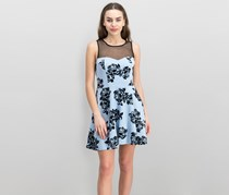 Trixxi Juniors Flocked Illusion Fit Dress, Light Blue/Black