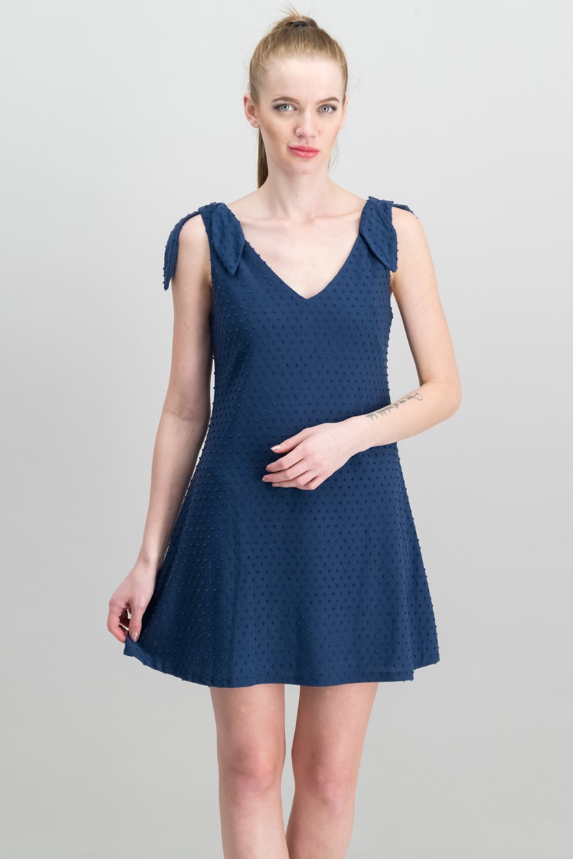 Juniors Knot-Shoulder Texture Dress, Navy