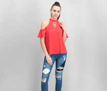 Lily Black Juniors Crisscross Cold-Shoulder Top, Red