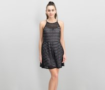 As U Wish Juniors Sleeveless Illusion Lace Fit & Flare Dress, Black