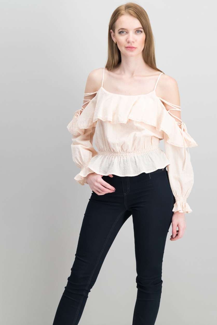 Marie Strappy Flounce Top, Powder Pink