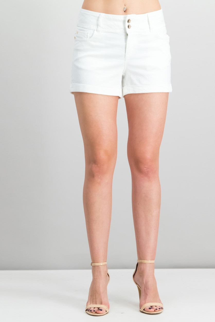 Cuffed Denim Shorts, White Wash