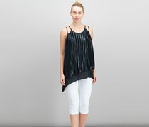 Love Scarlett Pleated Overlay Asymmetrical Top, Black