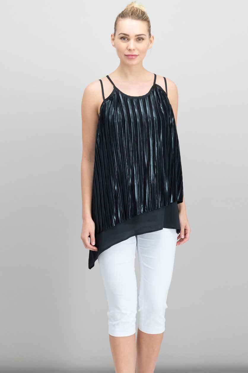 Pleated Overlay Asymmetrical Top, Black