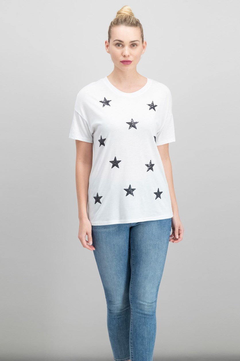 Women Juniors Sequined Star T-Shirt, White
