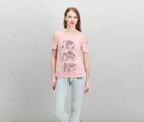Rebellious One Juniors' Cold-Shoulder Graphic T-Shirt, Pink