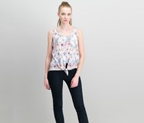 Rebellious One Juniors Tie-Front Pocket Tank Tops, Dusty Pink Floral
