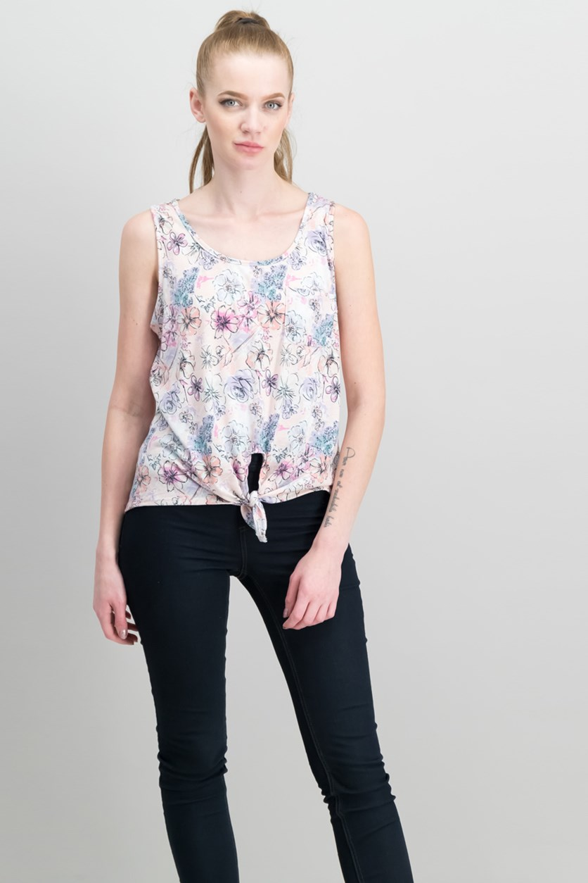 Juniors Tie-Front Pocket Tank Tops, Dusty Pink Floral