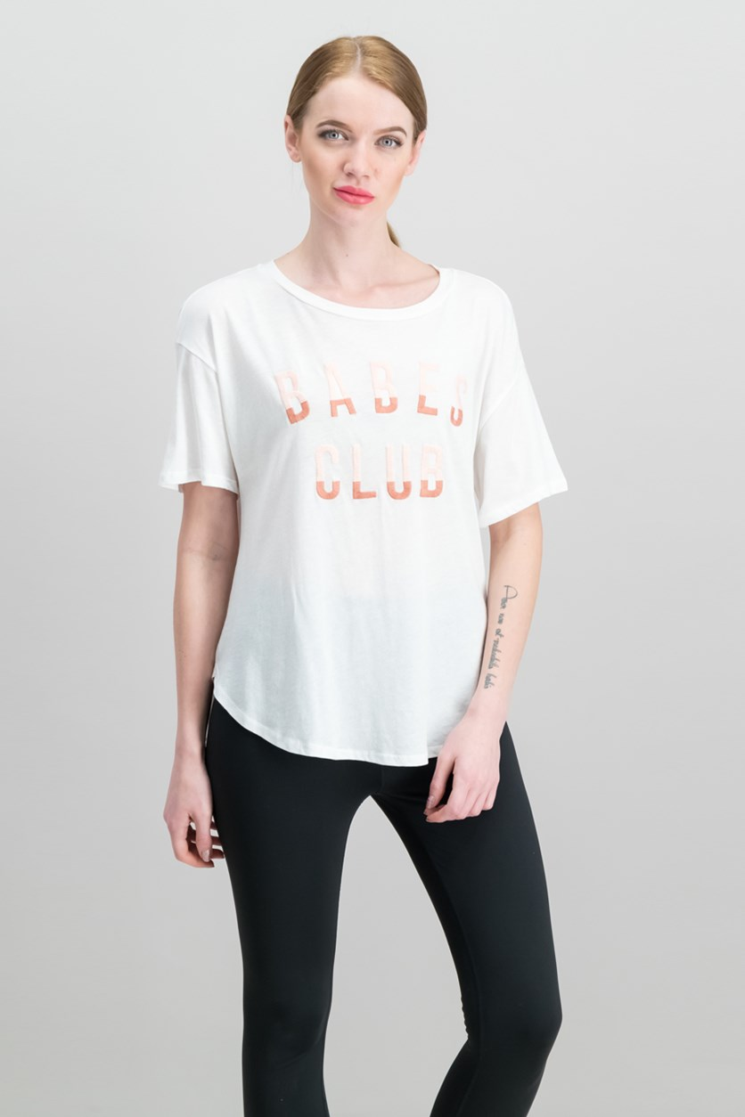 Embroidered Graphic-Print T-Shirt, White