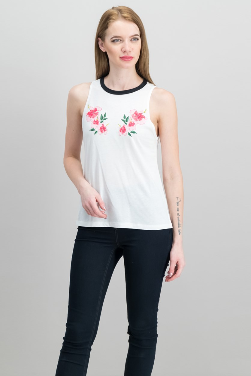 Floral-Embroidered Tank Top, White