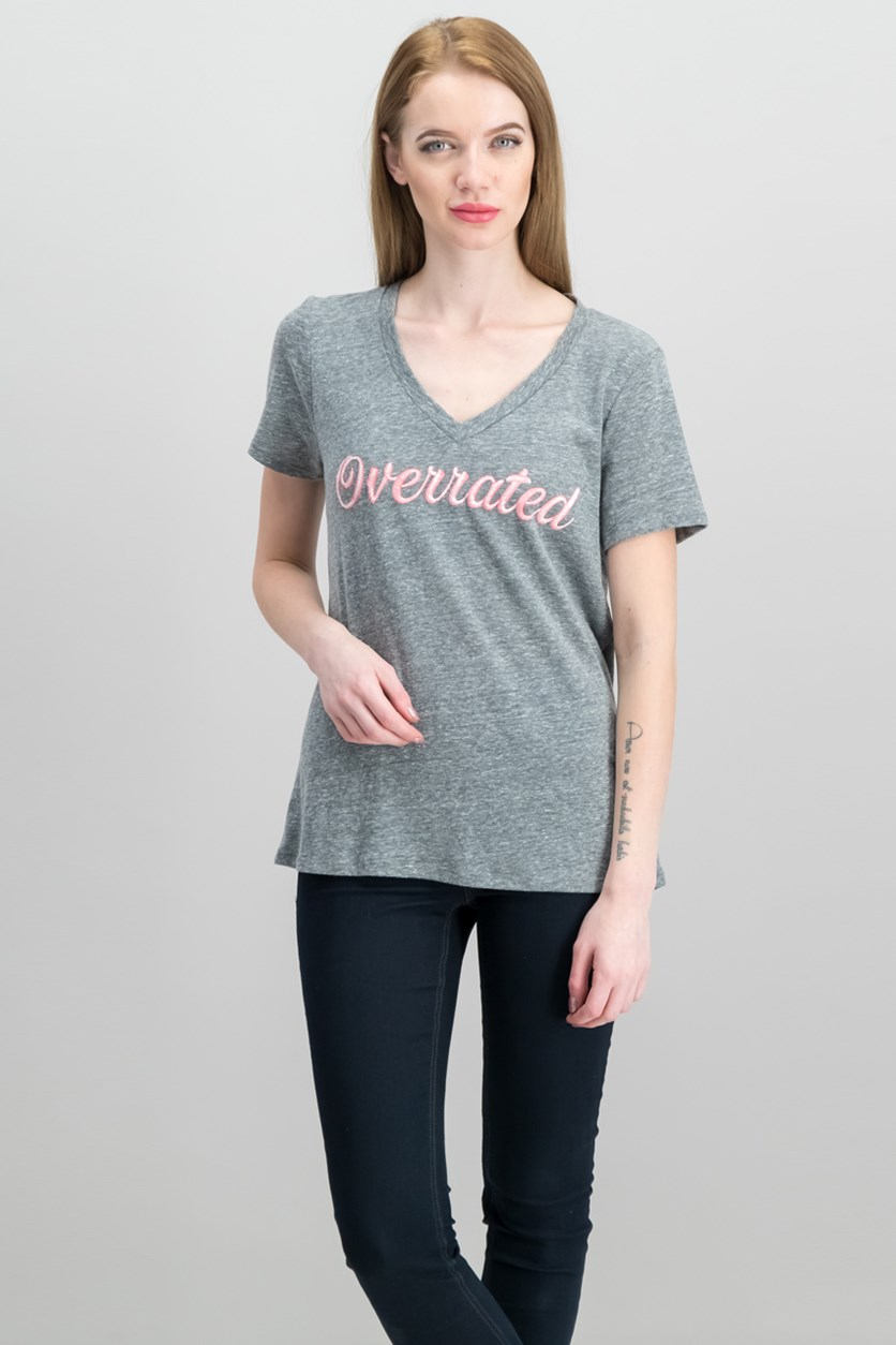 Heathered Graphic T-Shirt, Heather Grey