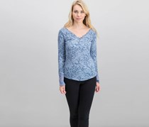 William Rast Clementine Textured Lace-Cuff Tops, Blue