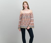Jessica Simpson Juniors Mixed-Print Off-The-Shoulder Tops, Dark Gull Gray