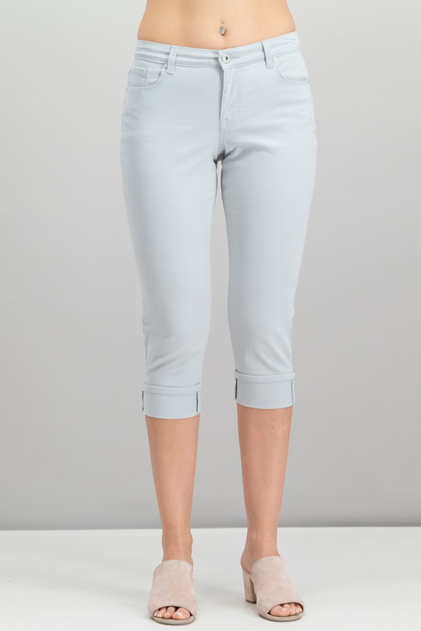 Women's Curvy Cuffed Capri Jeans, Misty Harbor