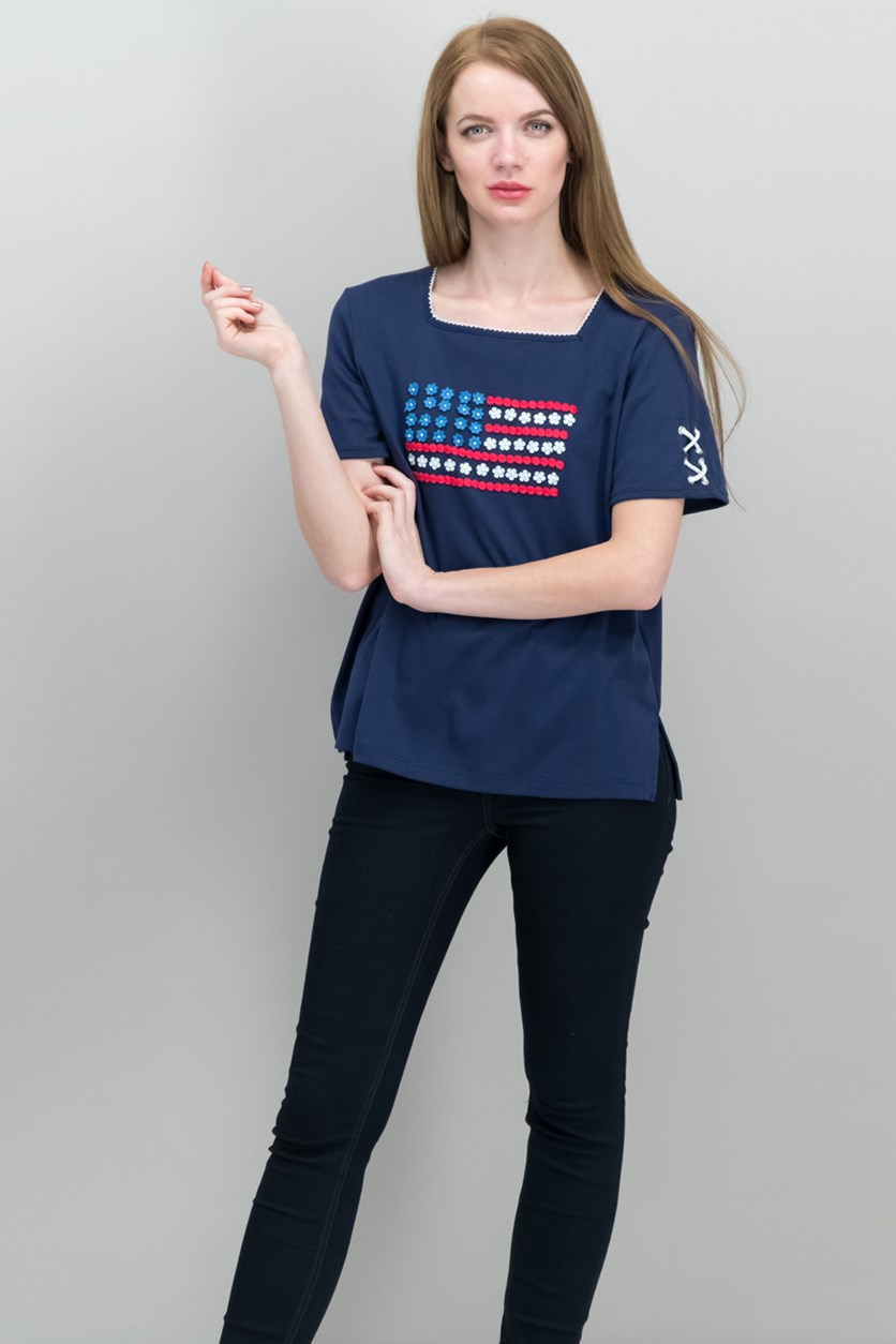 Embroidered Square-Neck T-Shirt, Navy