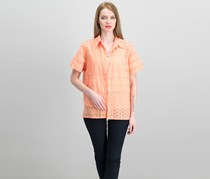 Alfred Dunner Petite Layered-Look Eyelet Top, Peach