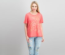 Alfred Dunner Mixed-Media Embellished Top, Coral